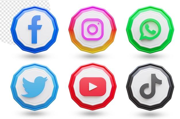 Ensemble de logos et d'icônes de médias sociaux 3d