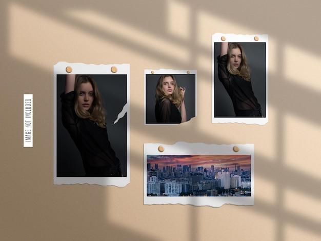 Ensemble de maquette de cadre photo en papier déchiré