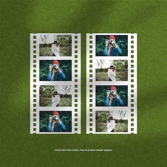 Ensemble de maquette de cadre photo en papier film portrait