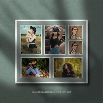Ensemble de maquette de cadre photo en papier portrait