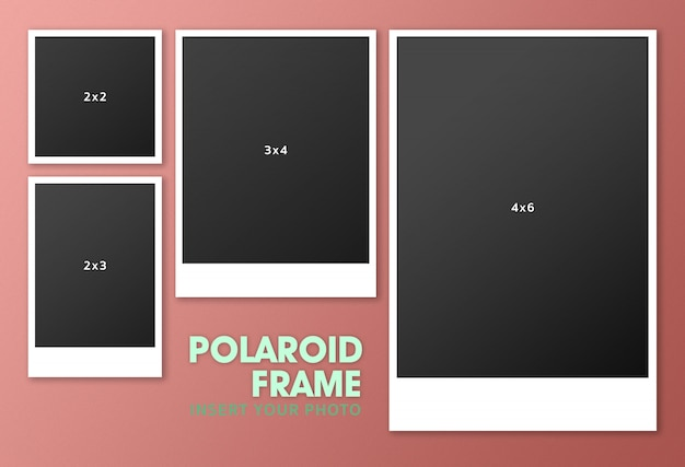 Ensemble de maquette cadre polaroid