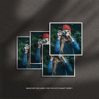 Ensemble de maquette de photo de cadre en papier carré avec ombre et voyage