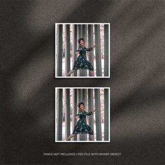 Ensemble de maquette de photo de cadre en papier carré avec ombre