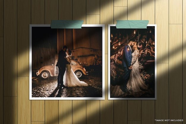 Ensemble de maquette de photo de cadre en papier avec superposition d'ombre de fenêtre et fond de bois