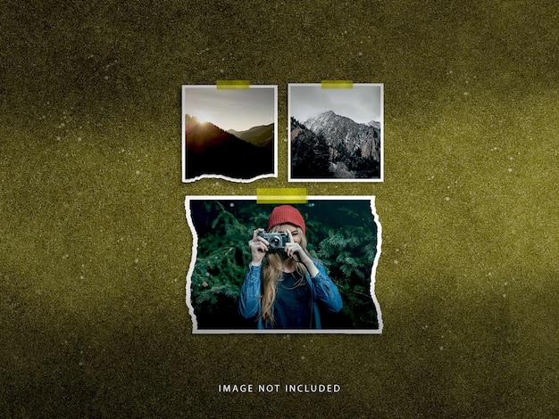 Ensemble de maquette polaroid de cadre photo de voyage