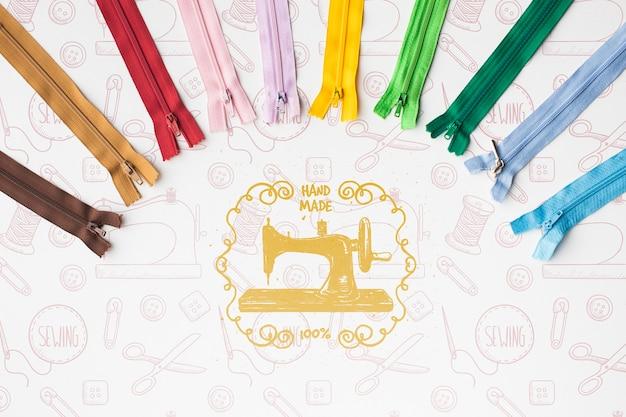 Ensemble de maquettes de fermetures éclair colorées
