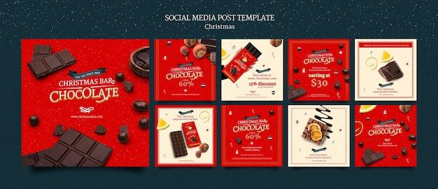 Ensemble de messages instagram au chocolat de noël