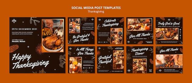 Ensemble de messages instagram joyeux thanksgiving