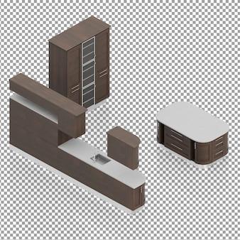 Ensemble de meubles de salon isométrique