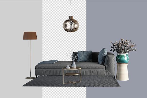 Ensemble minimaliste de meubles de décoration dans le salon