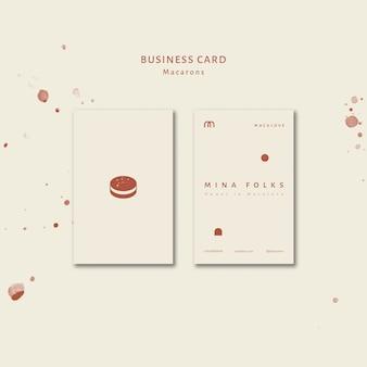 Ensemble de modèles de carte de visite verticale pour boutique de macarons