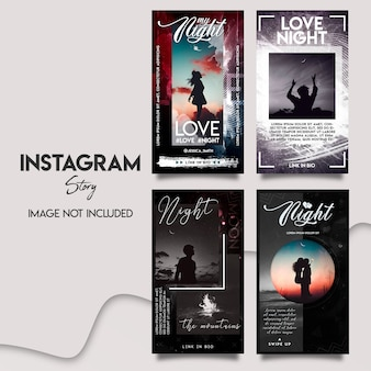 Ensemble de modèles d'histoires d'amour instagram incroyables