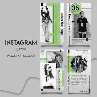 Ensemble de modèles d'histoires instagram de magasin de vêtements