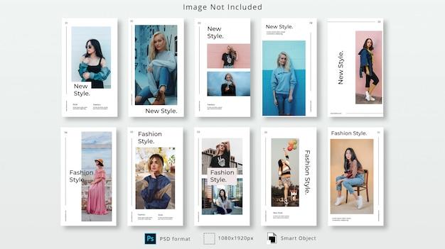 Ensemble de modèles de mode instagram histoires psd