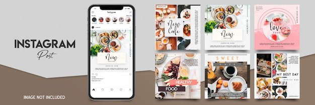 Ensemble de modèles de post instagram alimentaire