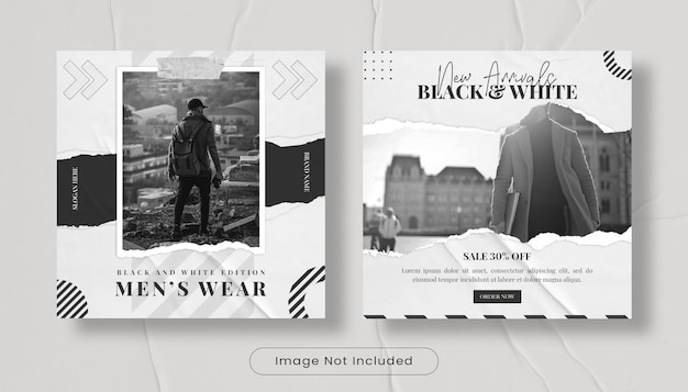Ensemble de modèles de publication de bannière de flux instagram de mode streewear