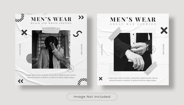 Ensemble de modèles de publication de bannière de flux instagram pour la semaine de la mode
