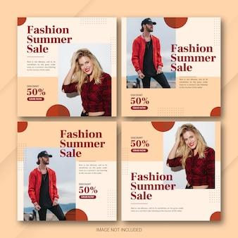 Ensemble de modèles de publication de vente d'été instagram