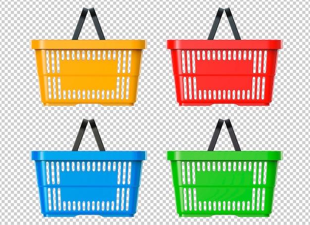 Ensemble de panier en plastique de supermarché