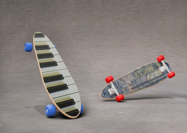 Ensemble de planches à roulettes maquette avec des dessins