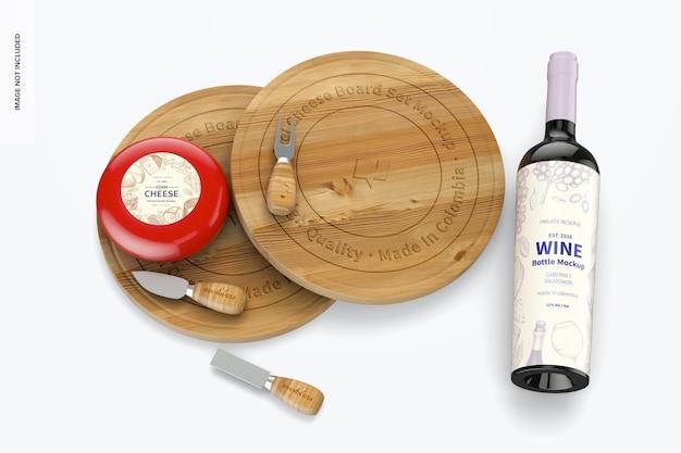 Ensemble de plateau de fromages pivotant avec maquette de bouteille de vin