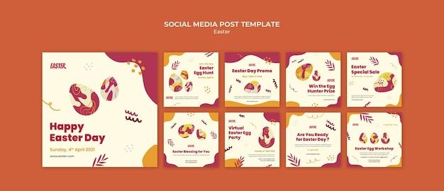Ensemble de publications instagram pour le jour de pâques
