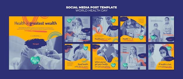 Ensemble De Publications Instagram Pour La Journée Mondiale De La Santé PSD Premium