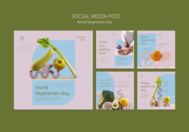 Ensemble de publications instagram pour la journée mondiale des végétariens