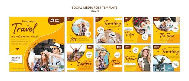 Ensemble de publications instagram de voyage