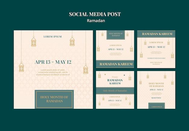 Ensemble de publications sur les médias sociaux du ramadan