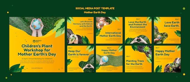 Ensemble de publications sur les médias sociaux pour le jour de la terre mère