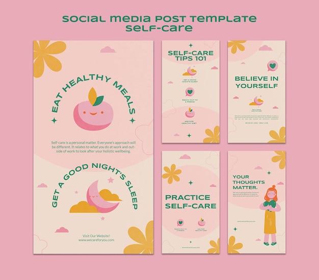 Ensemble de publications sur les médias sociaux sur les soins personnels