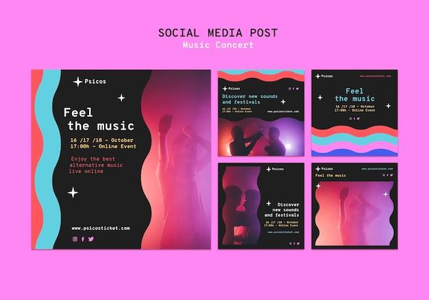Ensemble de publications sur les réseaux sociaux de concerts de musique