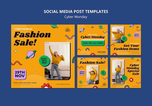 Ensemble de publications sur les réseaux sociaux du cyber monday