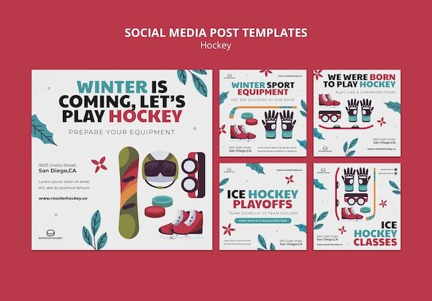 Ensemble de publications sur les réseaux sociaux de hockey
