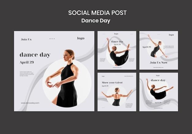 Ensemble de publications sur les réseaux sociaux de la journée de danse