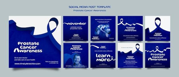 Ensemble de publications sur les réseaux sociaux de novembre bleu