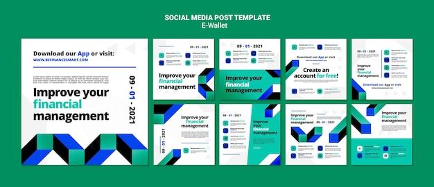 Ensemble de publications sur les réseaux sociaux de portefeuille électronique moderne