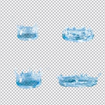 Ensemble de quatre éclaboussures d'eau