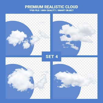 Ensemble réaliste de nuage blanc pour ciel bleu