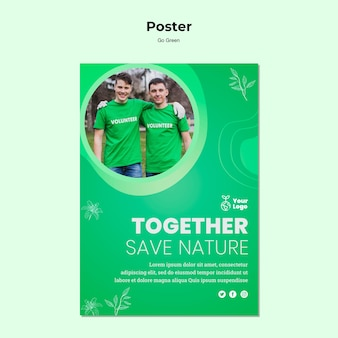 Ensemble, sauver le modèle d'affiche de la nature