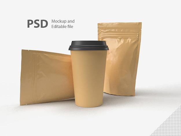 Ensemble de tasse à café et sac isolé