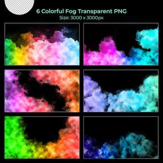 Ensemble transparent coloré de fumée de brouillard réaliste