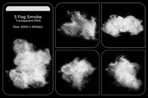 Ensemble transparent de diverses formes réalistes de brouillards
