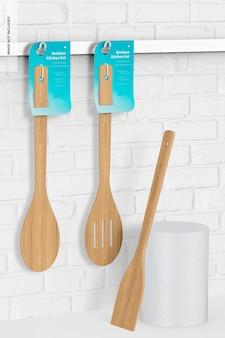 Ensemble d'ustensiles de cuisine en bambou, maquette 02