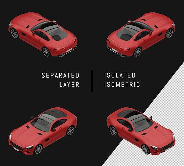 Ensemble de voitures isométriques de super sport de luxe rouge isolé
