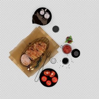 Entrées de tomate, viande sur une planche de bois avec verre à vin