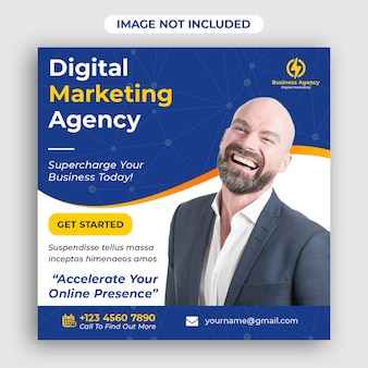 Entreprise numérique marketing carré de bannière de médias sociaux