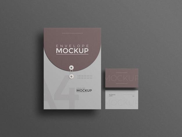 Enveloppe a4 avec maquette de carte de visite