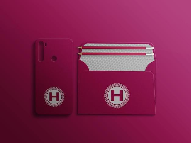 Enveloppe c5 ouverte avec maquette de logo de couverture mobile